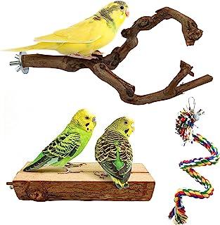 鹦鹉鲈鱼站立支架鸟类支架杆天然野生葡萄棒磨爪攀爬站立架配件玩具分支适用于长尾鹦鹉、Budgies、Lovebirds (Style 2)