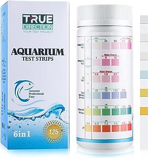 TRUEDIRECTION 6 合 1 水族箱测试条(125 次测试)鱼缸测试套件,用于测试硝酸盐、亚硝酸盐、硬度 (GH 和 KH)、淡水、盐水和pH;水族馆氨测试条