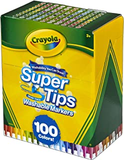 Crayola 绘儿乐 Super Tips 标志记号笔套装,耐洗,各种各样的颜色,儿童艺术品集合,100支