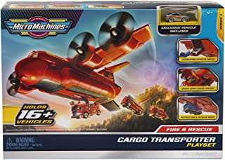 Micro Machines MMW0080 消防队货运飞机玩具套装,带1个*车辆,适合4岁以上儿童