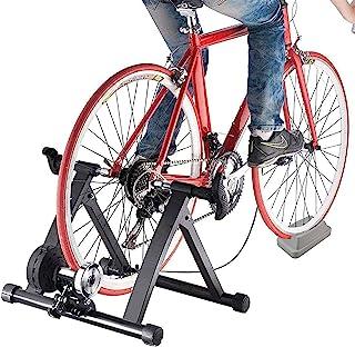 Sibosen 自行车训练器支架 钢自行车室内锻炼磁性支架 适用于山地自行车和公路自行车 适合 26-28 英寸车轮