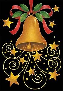 托兰家庭花园铃铛 71.12 x 101.6 厘米装饰性冬季节日圣诞节蝴蝶结金色星房旗