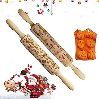 圣诞木制擀面杖,激光雕刻面团滚筒与圣诞鹿/树图案,14 英寸深雕刻压花擀面杖,适用于烘焙披萨、粘土、意大利面、饼干 BD