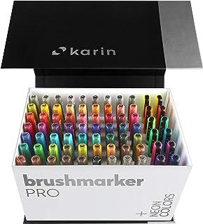 KARIN Mega Box PLUS – 72种颜色 + 3种搅拌机,刷毛笔 PRO – 水性刷,适用于绘画、绘画和手写,多色,霓虹色