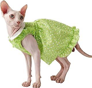 无毛猫衬衫 Sphynx 猫服装,透气猫背心连衣裙/裙子,可爱娃娃领花卉衬衫连衣裙带袖子,猫咪夏季酷炫服装适用于Cornish Rex,Devon Rex,Peterbald(中号)