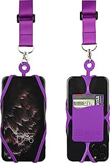 带可调节颈带的 Gear Beast 手机挂绳,适用于 iPhone Galaxy 和大多数智能手机,硅胶手机支架带卡袋和可调节缎面涤纶挂绳LAN-PST25A-PUR-PUR 紫色