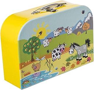 Bieco 儿童箱,带动物图案,21 x 30 厘米 | 儿童玩具箱 | 儿童箱 | 小儿童玩具箱 | 纸板箱 | 金属手柄 | 儿童小行李