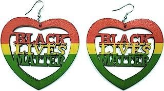 Teri's Boutique Heart Black Lives Matter Wood 时尚自然色耳环