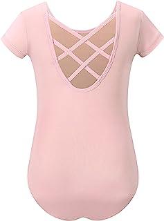 MdnMd 女孩幼儿舞蹈紧身连衣裤适用于芭蕾舞体操短袖套装,背部交叉细节