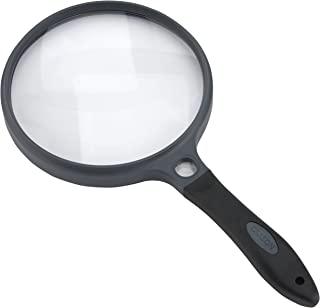 Carson SureGrip 橡胶软握大号手持放大镜,带 2 个亚克力镜头和 11.5 倍聚光镜片