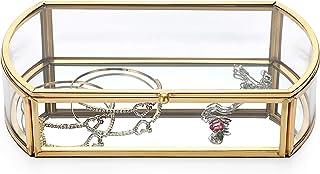 Hipiwe 金色玻璃盒首饰盒手链项链耳环戒指存储复古饰品收纳盒家居装饰盒盒纪念品盒婚礼生日礼物送给女士女孩