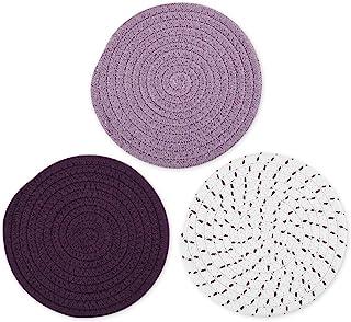 DS. DISTINCTIVE STYLE 棉线编织热垫厨房隔热垫套装 3 件 7 英寸防滑三脚垫适用于烹饪和烘焙 - 紫色