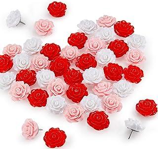 50 件玫瑰花推针花拇指钉装饰性花蕾推针彩色花蕾指钉适用于软木板照片墙备忘录家庭办公室