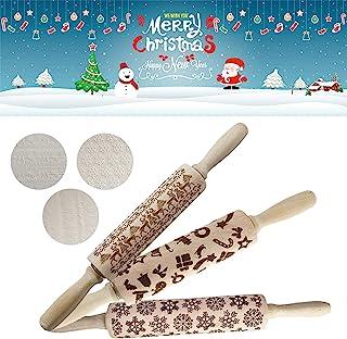 圣诞木制 3D 擀面杖,压花天然木材雕刻擀面杖,带圣诞图案,用于烘焙压花饼干,擀面杖厨房DIY烘焙工具 A+B+C