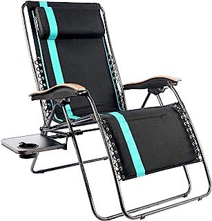PORTAL 超大软垫零重力椅,XL 座可调节庭院休闲躺椅,带腰部支撑枕和侧桌支撑,350 磅(约 92.7 千克)