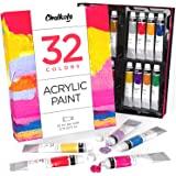 丙烯酸顏料套裝(32 種顏色,22 毫升管裝,0.74 盎司) 適用于帆布、工藝品、木畫 - 豐富的顏料、不褪色,生動…