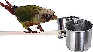 TBWHL 鹦鹉喂食杯悬挂宠物动物不锈钢鸟笼鸟碗鸟碗适用于笼长尾鹦鹉鸟笼配件适合中小型鸟 S