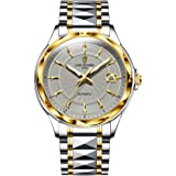 LIGE 男士手表自动机械手表钨钢表带,100 米防水自动上弦大号表盘不锈钢腕表,时尚商务男士手表金色