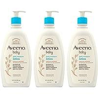 Aveeno 艾惟诺 Baby Aveeno 儿童每日保湿乳液,含胶体燕麦和二甲基硅油,3 X 18 液体盎司,532毫…