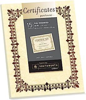 Southworth Foil 增强羊皮纸证书,8.5 英寸 x 11 英寸,22 磅/90 GSM,金色鸢尾花设计,象牙色,15 件 - 包装可能有所不同 (98867)