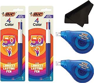 BIC 中号圆珠笔,4 种颜色,各种墨水带Wite Out 校正胶带和超细纤维布 - 套装(笔2支,Wite Out 2支,MF)