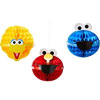 Sesame Street 派对挂式蜂窝装饰大鸟、Elmo 和 Cookie Monster 多种颜色 均码 A2996…