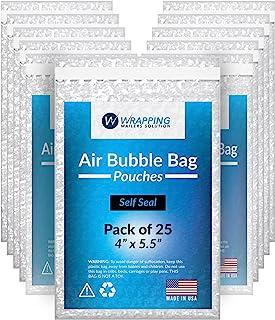 泡泡袋 4x5.5 - 透明袋 - 气泡袋 - 自封袋,运输 - 包装-邮寄 - 由 Wrapping Mailers Solutions 出品。美国制造(4x5.5/25 包)