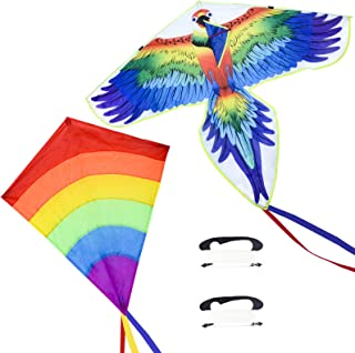 Nazano 2 件装鹦鹉风筝彩虹钻石风筝,适合儿童和成人,Easy Flyer 彩色风筝非常适合初学者户外游戏活动,海滩之旅适合 3 4 5 6 岁及以上的男孩女孩