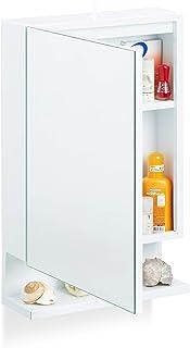 Relaxdays 浴室镜柜,1 个门和电源插座,浴室墙壁架,高 x 宽 x 深:55 x 35 x 12 厘米,白色