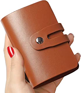 RFID 信用卡夹,女士或男士,皮革名片夹,超薄信用卡收纳盒,极简主义信用卡钱包,带 26 个卡槽(棕色)