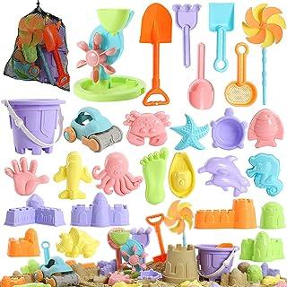 Beach Sand 儿童玩具 - 31 件沙箱玩具套装,适合 3-10 岁儿童,沙堡玩具带水轮,桶,铲子工具套件,风车,沙模夏季沙滩玩具,带网眼袋的儿童户外沙滩玩具