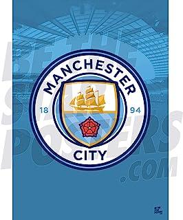 Be The Star Posters 曼彻斯特城足球俱乐部 2020/21 Club Crest A2 足球海报/印刷/墙艺术 - 官方*产品 - 提供 A3 和 A2 (A2),蓝色