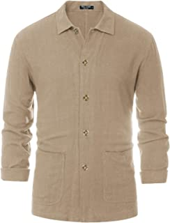 PJ PAUL JONES 男式亚麻衬衫夹克长袖轻质休闲纽扣亚麻衬衫夹克
