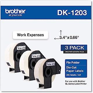 Brother Genuine DK-12033PK 模切文件夹标签,经久耐用,每卷 300 个标签,(3) 卷