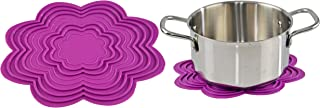 HOME-X 花形硅胶三脚架,隔热垫,多用途,热垫,厨房,浴室,家居配饰 - 10.75 英寸 x 8.75 英寸