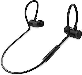入耳式无线蓝牙耳机 - 防水黑色无线运动耳塞式耳机,耳塞式无线耳机带麦克风,适用于音频视频跑步健身房锻炼游戏 - Pyle PSWPHP43