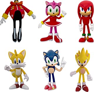 Sonic the Hedgehog 动作公仔,儿童卡通人物公仔玩具,6 件可收藏人偶,包括:Sonic Hedgehog 尾巴 Amy Rose Dr.Eggman  指关节,适用玩具蛋糕装饰和儿童玩具