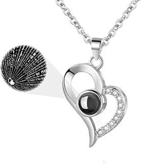 "EleShow 925 纯银""我爱你""项链 100 种语言爱心项链女式"