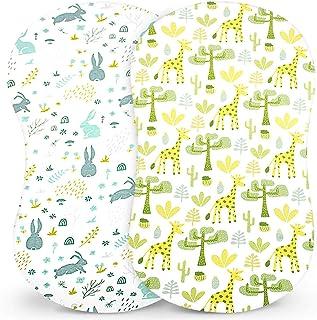 婴儿摇篮床单套装,2 件装,通用针织棉摇篮床,适用于椭圆形、沙漏和矩形摇篮床垫