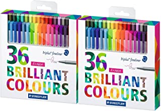 Staedtler 彩色笔,2 套 36 种不同颜色(Triplus 细线笔) - 72 支笔!