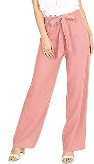 Ambiance Apparel 女式青少年阔腿弹簧亚麻裤