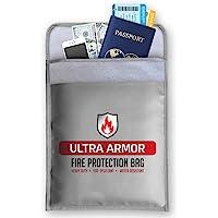 EcoGear FX 防火文件袋 - 耐用无瘙痒硅胶涂层防火钱袋 - 完美的防火*存储袋,可存放现金、文件、珠宝和护照…