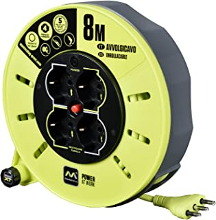 LUCECO 样品插件 Pro-XT CMIT08164L-PX 电电缆卷筒 8 米;4 个多标准 Schuko 插座 + 2 个 + 欧标;意大利插头 16A - 集成LED电源显示 - 电缆颜色:青柠色