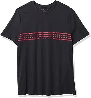 Perry Ellis 男式标志胸部条纹短袖圆领 T 恤
