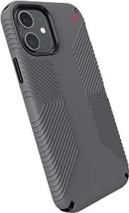 Speck Products Presidio2 Grip iPhone 12,iPhone 12 Pro 手机壳,石墨灰/石墨灰/亮红色