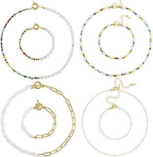 Fumete 8 件人造珍珠串珠颈链项链手链套装串珠链项链波西米亚串珠手链女士珠宝