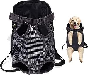 宠物背带背包 狗狗背带背包 适用于中小型犬猫 免提狗狗旅行背包 适用于步行 徒步 自行车和摩托车(黑色,S 码)