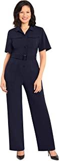 Donna Morgan 女式梦幻绉纱 Utitlity 短袖连身衣