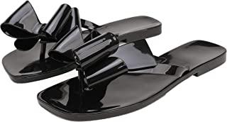 女式凉鞋果冻翻盖沙滩平底夏季拖鞋拖鞋拖鞋蝴蝶结露趾橡胶休闲系带