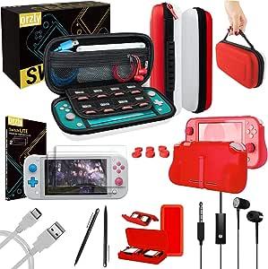 Orzly 配件套装兼容 Nintendo Switch Lite - 保护套和屏幕保护膜,USB 电缆,游戏支架,Comfort Grip 保护套,耳机,拇指抓握包等 - 红色和白色